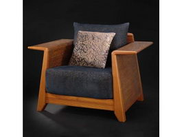 Wooden frame single seat sofa 3d model preview