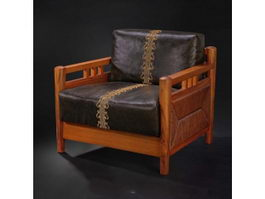 Chinese leather single sofa 3d preview