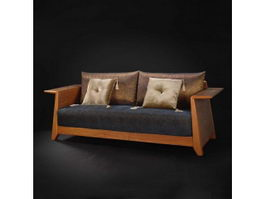 Classic fabric wood sofa 3d preview