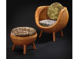Chinese rattan leisure chair and ottoman 3d preview