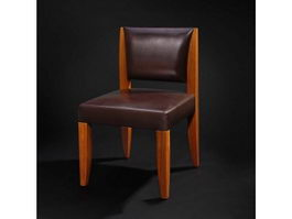 Classic leather dining chair 3d model preview