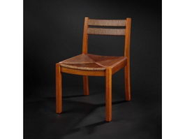 Classic wooden dining chair 3d model preview