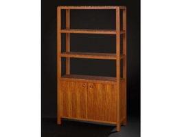 Vintage wooden display cabinet 3d preview