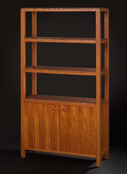 Vintage wooden display cabinet 3d rendering
