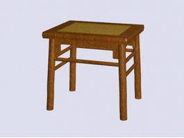 Chinese antique square stool 3d preview