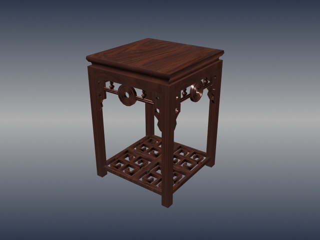 Chinese furniture antique square stool 3d rendering