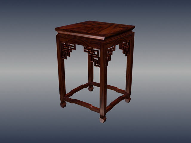 Chinese furniture carved square stool 3d rendering