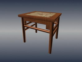 Chinese traditional square stool 3d preview