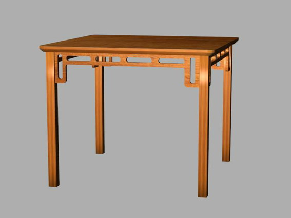 Chinese style dining table 3d rendering