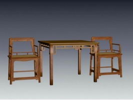 Chinese antique furniture dining sets 3d model preview