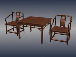 Chinese antique tea table and chairs 3d preview