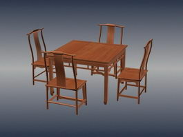 Chinese antique furniture dining-room sets 3d model preview