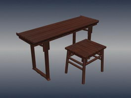 Chinese antique furniture stool and table 3d model preview