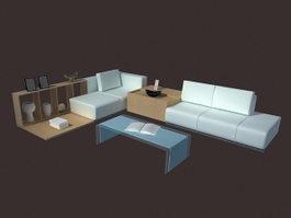 Modern living room set furniture 3d preview