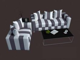 Modern fabric sofa set 3d model preview