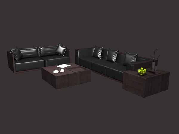 Modern leather sectional sofa set 3d rendering