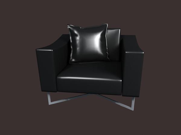 Chrome legs leather sofa 3d rendering