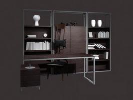 Modern office furniture set 3d model preview