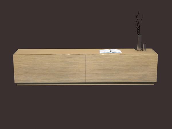 Modern wooden tv stand 3d rendering