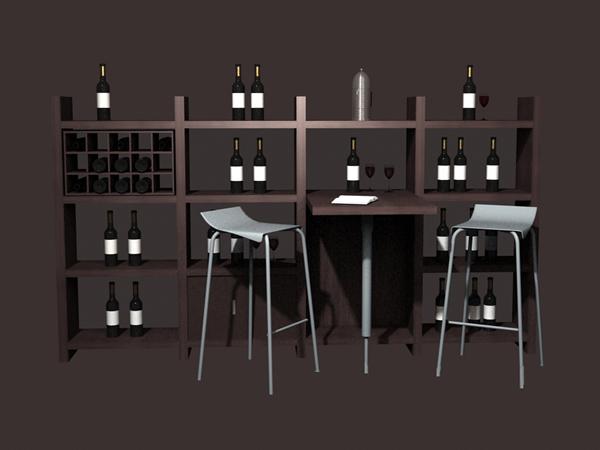 Home wine bar furniture set 3d rendering