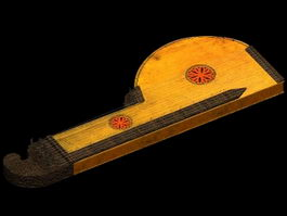 Ancient zither 3d model preview