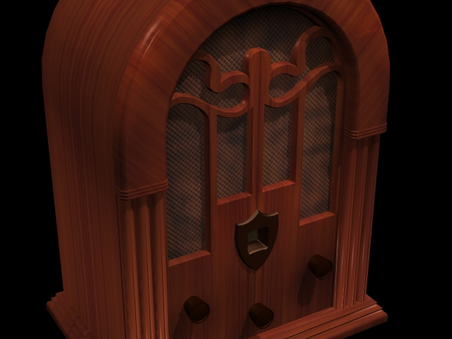 Old fashioned radio 3d rendering