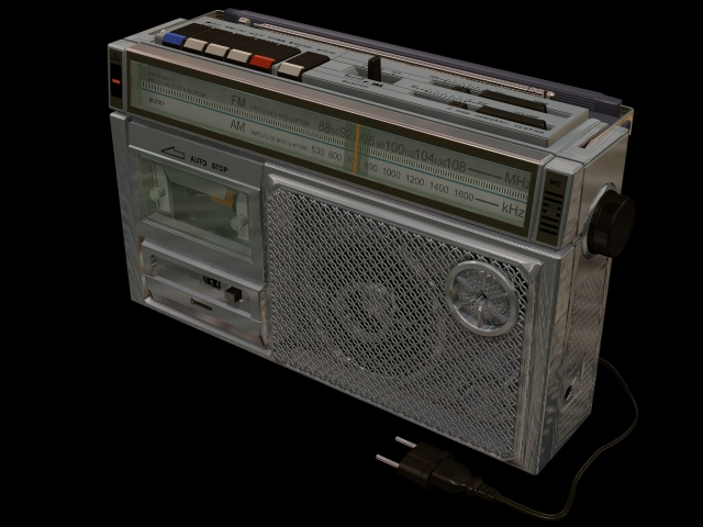 Sanyo radio and cassette player 3d rendering