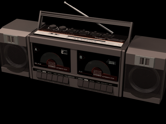 Radio and cassette recorder 3d rendering
