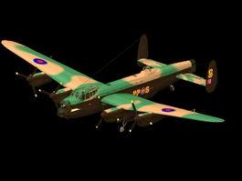 Avro Lancaster heavy bomber 3d model preview