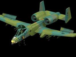 A10 Thunderbolt II attack aircraft 3D Model