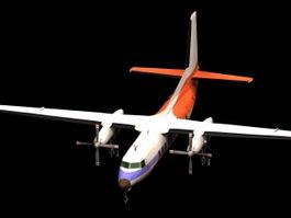 Fokker F27 turboprop airliner 3d model preview