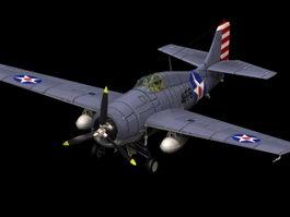 Grumman F4F Wildcat fighter 3d model preview