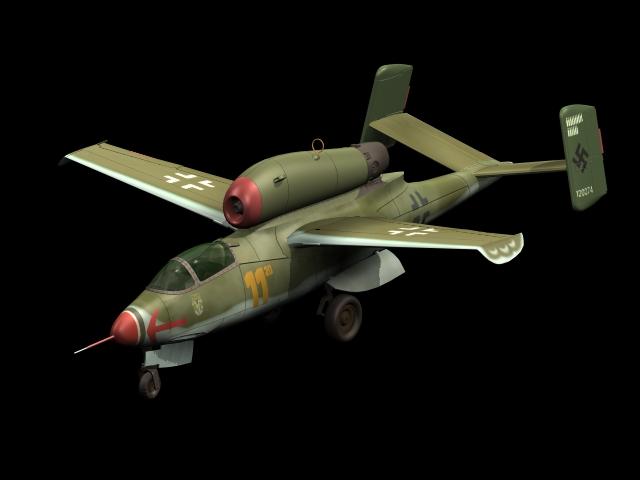 Heinkel He 162 fighter 3d rendering
