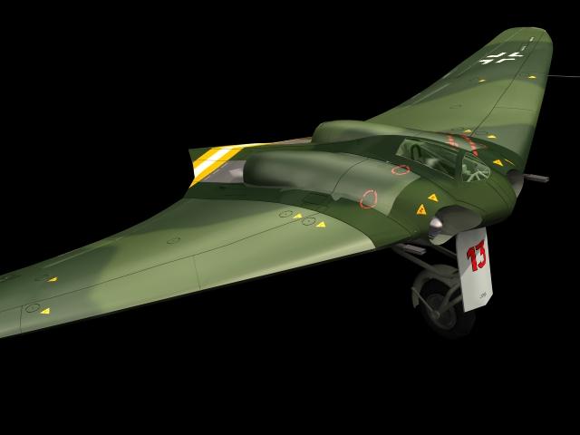 Horten Ho 229 fighter bomber 3d rendering