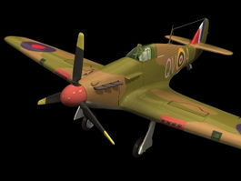 Hawker Hurricane fighter 3d model preview