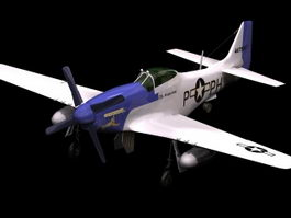 P-51 Mustang fighter-bomber 3d model preview