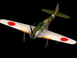 Ki-43 Oscar fighter 3d model preview
