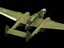 Northrop P-61A night fighter 3d model preview