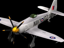 Hawker Sea Fury fighter-bomber 3d model preview