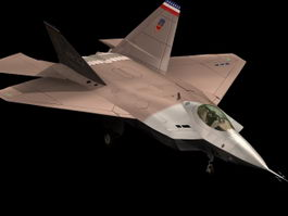 YF-22 Lightning II prototype fighter 3d model preview