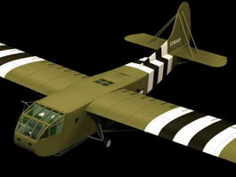 CG-4A Hadrian military glider 3d model preview