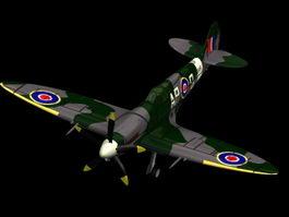 Supermarine Spitfire Mk XIV fighter 3d model preview