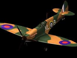 Spitfire Mk I fighter aircraft 3d model preview