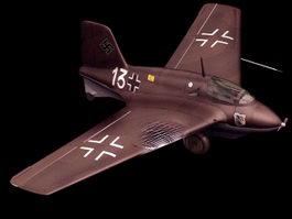 Messerschmitt Me 163B fighter 3d model preview