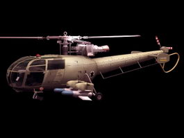 Aérospatiale Alouette III utility helicopter 3d model preview
