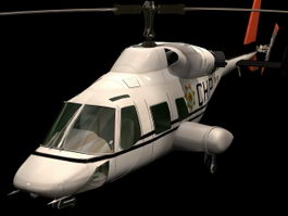 Bell 222 utility helicopter 3d model preview