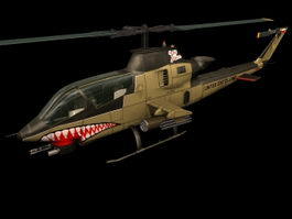Bell AH-1 Cobra attack helicopter 3d model preview