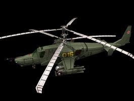Kamov Ka-50 attack helicopter 3d model preview