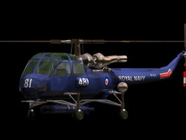 Westland Wasp military helicopter 3d model preview