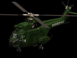 Aérospatiale SA 330 Puma helicopter 3d model preview
